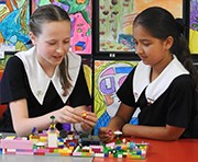 Junior Student playing Lego